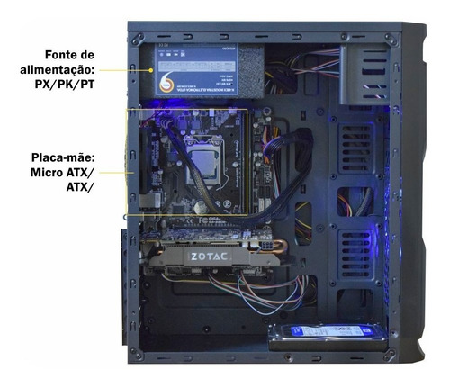 pc 8° processador g5400 gold+ 8gb ram hyperx+ h310m+ ssd120gb+ 400w gab