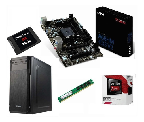 pc actualización amd a6 7480 ssd 240g 4gb gab tec mouse kit