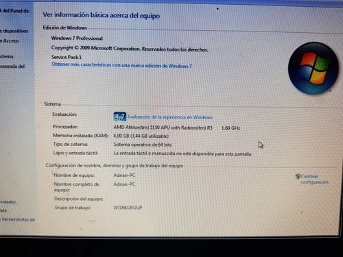 pc amd atlhon 5150 4gb ddr3+ tecla mouse y recep wi fi