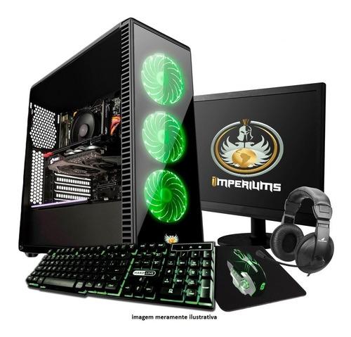 pc completo gamer com monitor lcd! 4gb, wifi + 30 jogos!