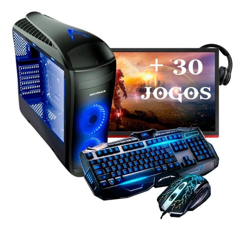 pc completo gamer monitor 19 led hdmi wifi 8gb + 30 jogos!