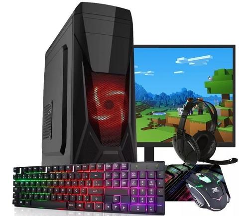 pc completo gamer  + monitor + kit gamer para jogos c/ led