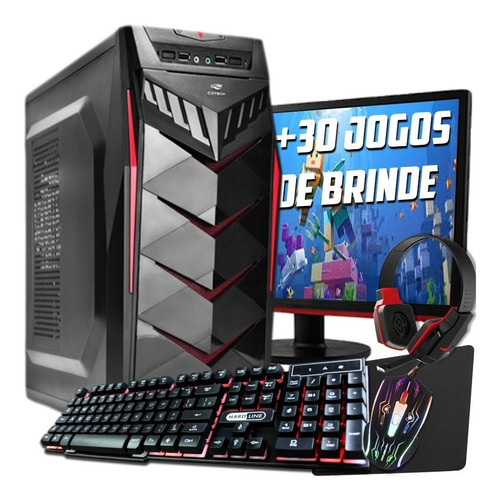 pc completo gamer monitor lcd! + 30 jogos!