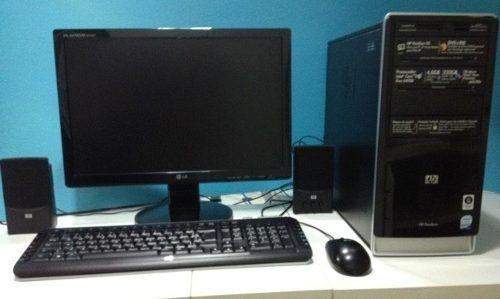 pc completo hp 4gb monitor 19¨ 250gb wi-fi + 10 jogos brinde