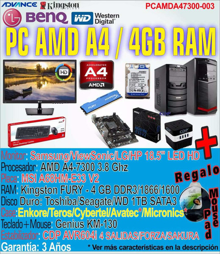pc computadora a4 gamer gaming completa amd a4-7300 4gb 1tb+