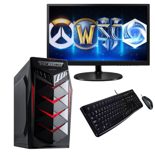 pc computadora gamer intel core i3 8100 ddr4 8gb 1tb led 19