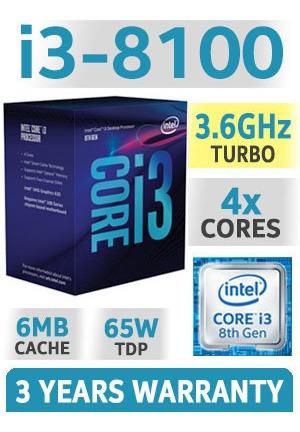 pc core i3 8100 8ª gen, c/ 4gb de ram, ssd 120gb, fonte 500w
