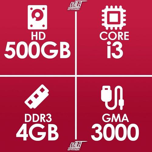 pc cpu computadora core i3 4gb ram hd 500 nuevas gtia 1 año