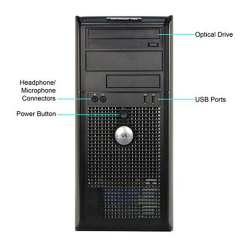 pc cpu dell 755 torre core 2 duo 2gb ddr2 hd320gb leitor
