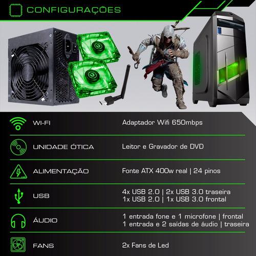 pc cpu gamer 4.0ghz 8gb 1tb hd placa video 2gb + kit gamer!