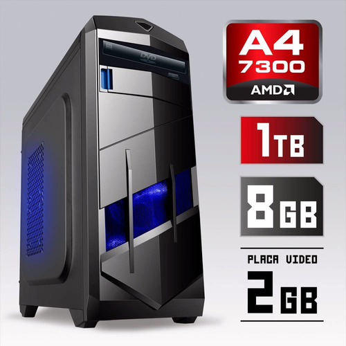 pc cpu gamer 4.0ghz 8gb 1tb hd video nvidia 2gb + kit gamer!