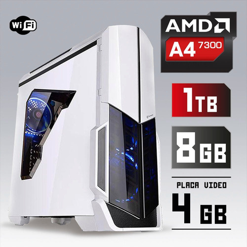 pc cpu gamer  4.0ghz 8gb 1tb video 4gb 128bit + kit