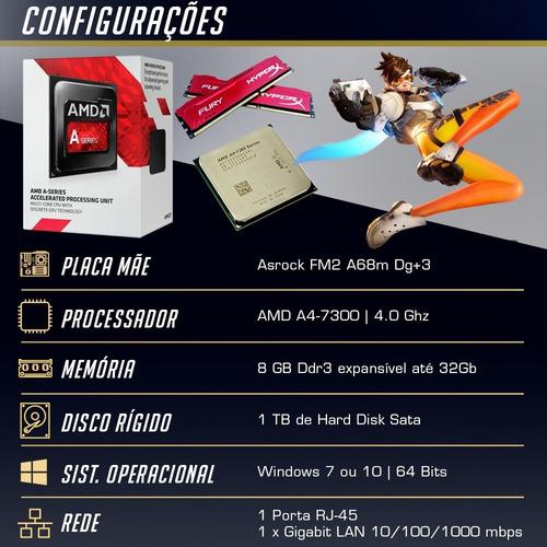 pc cpu gamer a4 7300 4.0ghz 8gb 1tb nvidia gtx 1050 ti 4gb