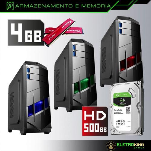 pc cpu gamer barato 3.0ghz 4gb 500gb geforce gt420 + kit