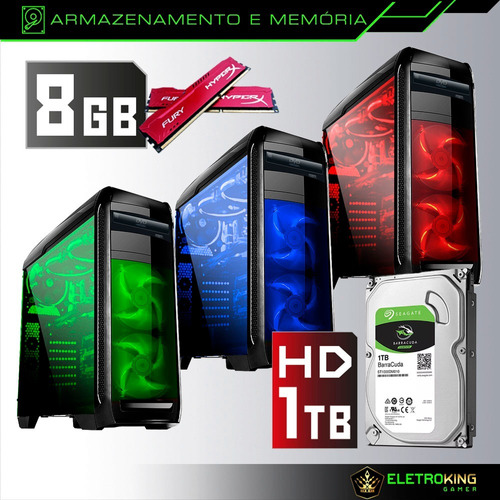 pc cpu gamer core i5 3.2 1tb 8gb geforce 2gb + kit gamer