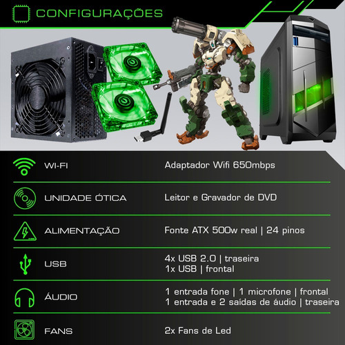 pc cpu gamer core i5 3.2 ghz 1tb 8gb gtx 1050 2gb + kit game