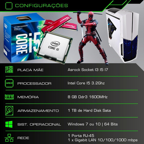 pc cpu gamer core i5 3.2ghz 1tb 8gb gtx 1050 ti 4 gb + kit