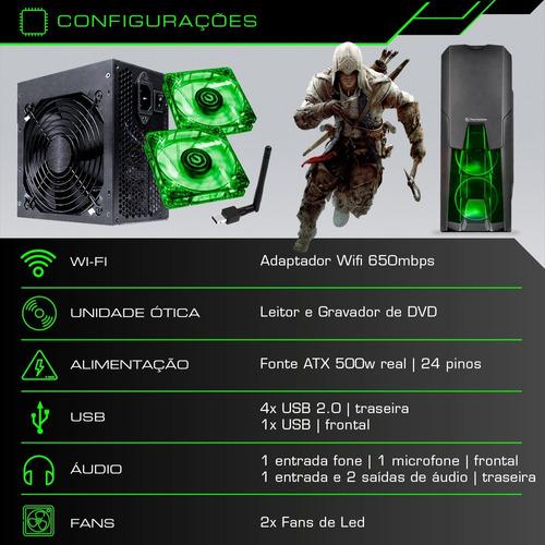 pc cpu gamer core i5 3.2ghz 1tb 8gb gtx 1050 ti 4gb + kit