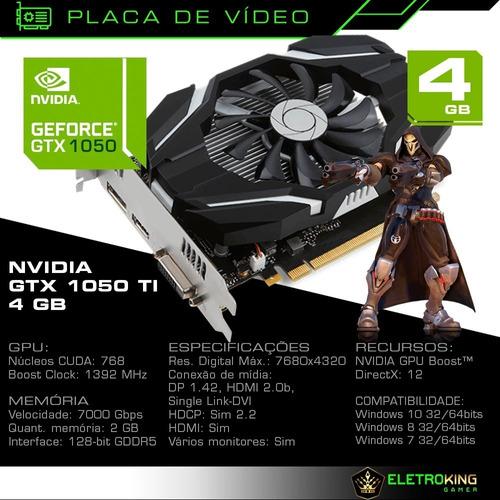 pc cpu gamer core i5 3.2ghz 8gb 1tb gtx1050 ti 4gb c/ kit!