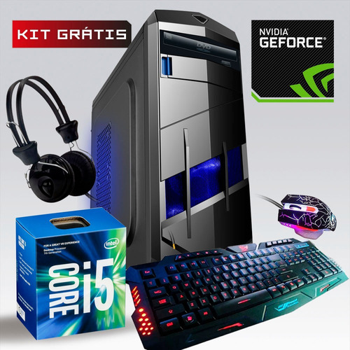pc cpu gamer core i5 3.2ghz 8gb 1tb gtx1050 ti 4gb + kit!