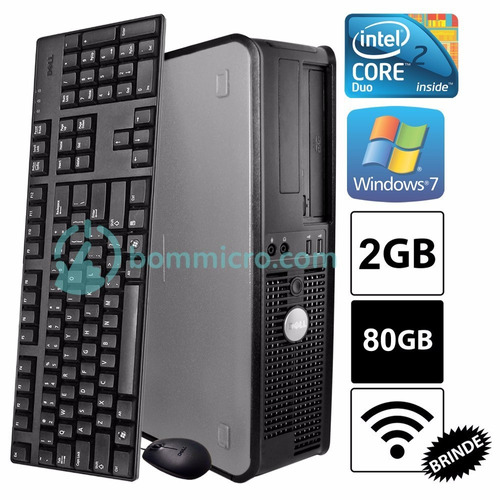 pc desktop cpu dell optiplex core 2 duo 2gb hd 80gb wifi