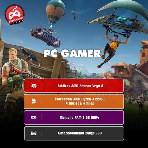 pc entrada gamer ryzen 3 2200g radeon vega 8 - 8gb ssd 240gb
