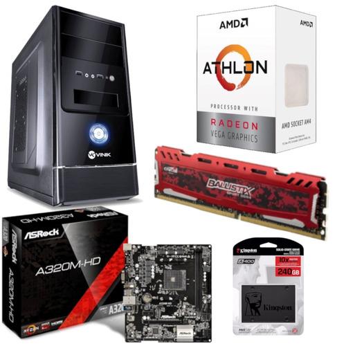 pc g1 one amd athlon 200ge asrock a320m hd bl 8gb ssd 240gb
