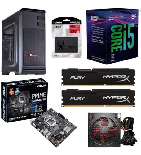 pc gabinete hunter intel i5 8400 asus h310m e br hyperx hx 16gb 2400mhz kingston ssd 240gb fonte bluecase bc500