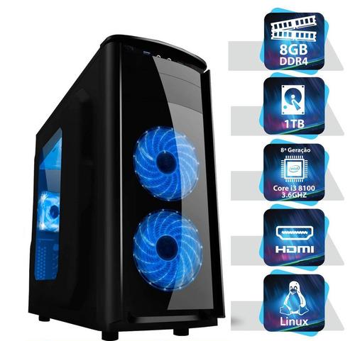pc game intel i3 8100 3.6ghz  8gb - hd  1tb + gt 1030 8ª ger