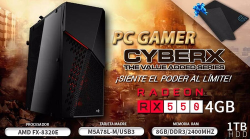 pc gamer amd fx 8320 3.2ghz 8gb 1tb radeon rx560 2gb +regalo