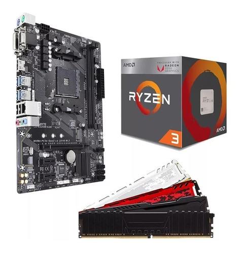 pc gamer amd ryzen 3 3200 + a320m + 2x4gb + 500gb