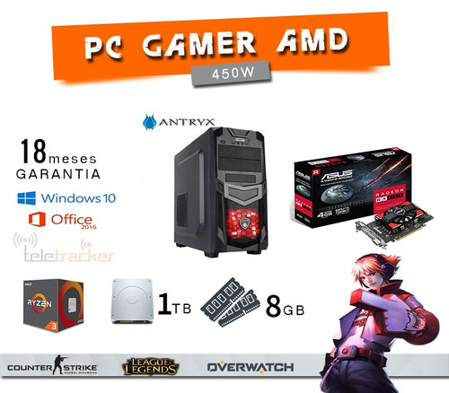 pc gamer amd-ryzen 3 8gb rx 550 1tb 450w dota2, cs, pes2017