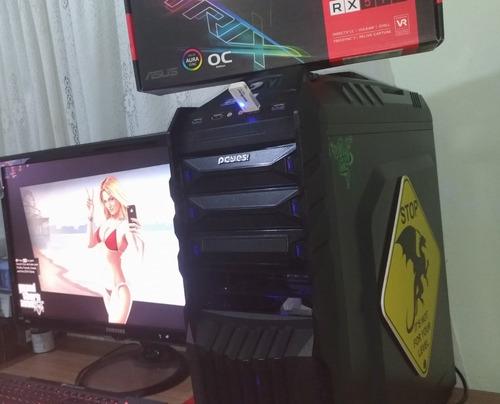 pc gamer com rx 570, fonte de 700w. aceito trocas leia a des