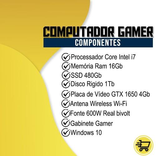 pc gamer completo eros i7 gtx 1650 16gb hd1tb ssd480gb wi-fi