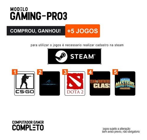 pc gamer completo i3 8gb hd 1000gb r5 230 c/ monitor wifi hdmi win10