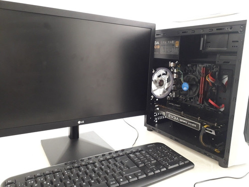 pc gamer con monitor lg fhd  intel 8va°, gtx 1070 8 gb, 1 tb