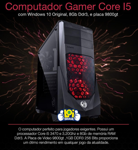 pc gamer cpu intel corei5 3geração 8gb ram+hd 500 gb windows