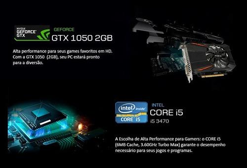 pc gamer i5 3470, 2gb 1050 gtx, 8gb, 1tb, gab vidro rgb + nf