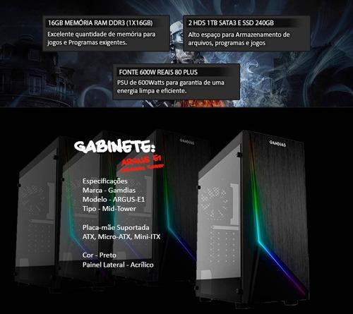 pc gamer i7 7700, 16gb, ssd240, 1tb, gtx 1050 ti 4gb + nfe
