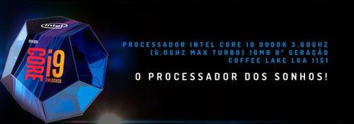 pc gamer i9 9900k z370m rtx 2080ti, ram 16gb horus rgb wc