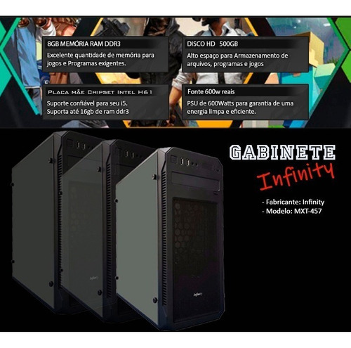pc gamer intel i5 3.6 ghz, 8gb, geforce 4gb 1050 gtx ti + nf