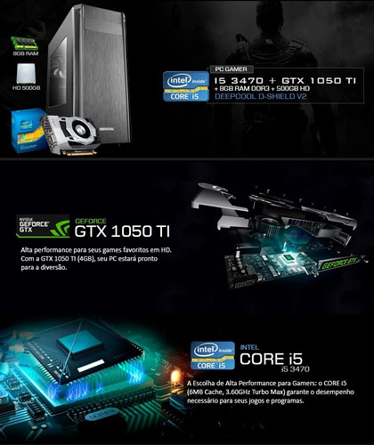 pc gamer intel i5 3.6 ghz, 8gb, gf 4gb 1050 gtx ti, promoção