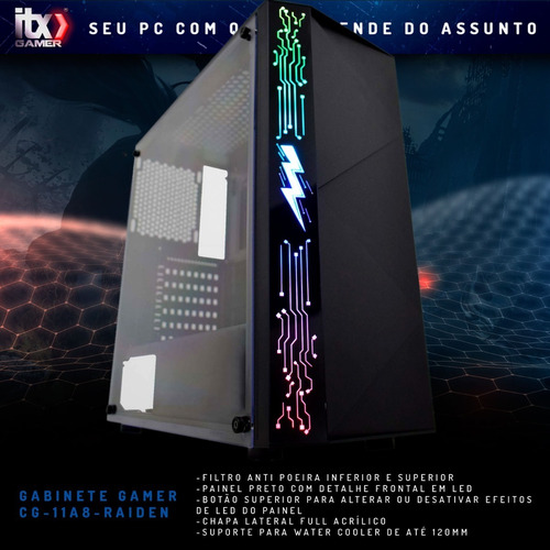 pc gamer powered by asus ryzen 5 2600 / rx 570 4gb, 8gb ddr4