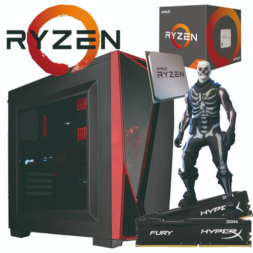 pc gamer ryzen / 8gb hyperx / 1tb / real 500w 80+ pfc ativo
