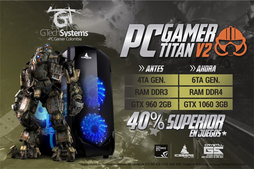 pc gamer titan v2: intel 8va gen, nvidia gtx 1060 3gb, 8gb