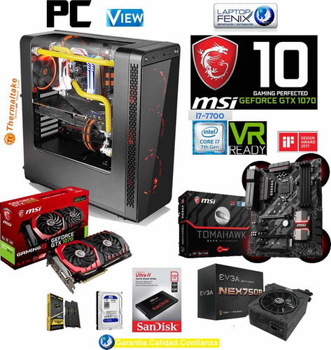pc gamer v ci7-7700| 16gb| 240gb +1tb | 8gb gtx1070| 750w