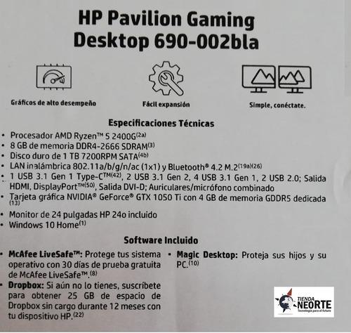 pc hp gamer 690-002bla amd ryzen 5 8g 1tr 4gb1050 24  win10