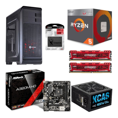 pc hunter ryzen r5 2400g a320m hd bl 16gb kc400 ssd 120gb