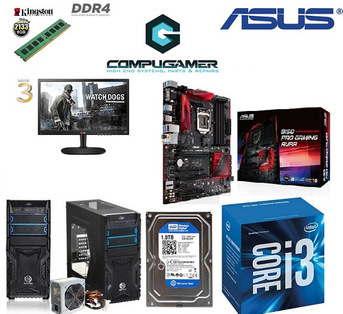 pc i3-6100 mainbaord asus b150 pro gaming aura 1tb