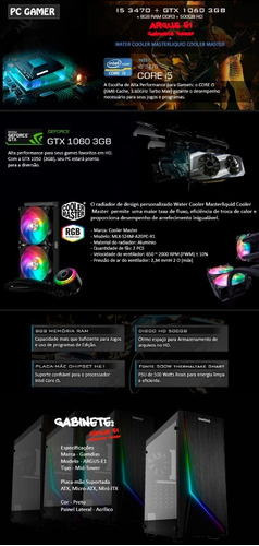 pc i5 3.6 ghz, 8gb, wc 240mm rgb, 3gb 1060 gtx, 500gb + nfe